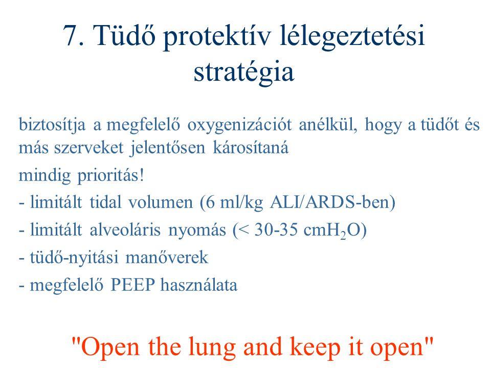 7. Tüdő protektív lélegeztetési stratégia biztosítja a megfelelő oxygenizációt anélkül, hogy a tüdőt és más szerveket jelentősen károsítaná mindig pri