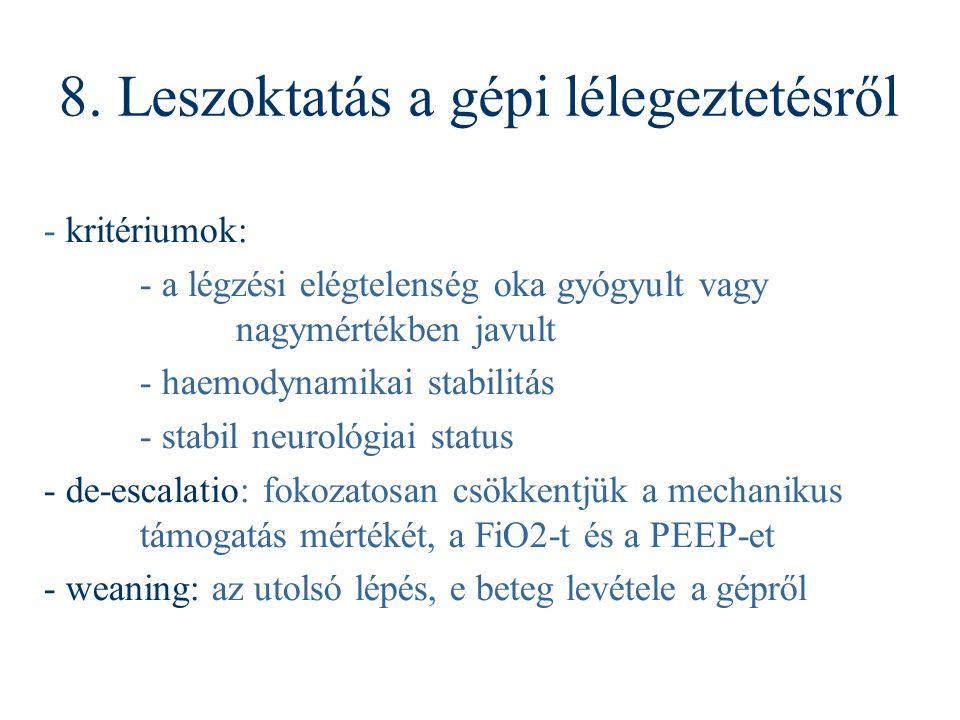 - kritériumok: - a légzési elégtelenség oka gyógyult vagy nagymértékben javult - haemodynamikai stabilitás - stabil neurológiai status - de-escalatio:
