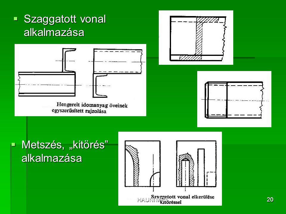 """ Metszés, """"kitörés"""" alkalmazása  Szaggatott vonal alkalmazása HAUNI MR120"""