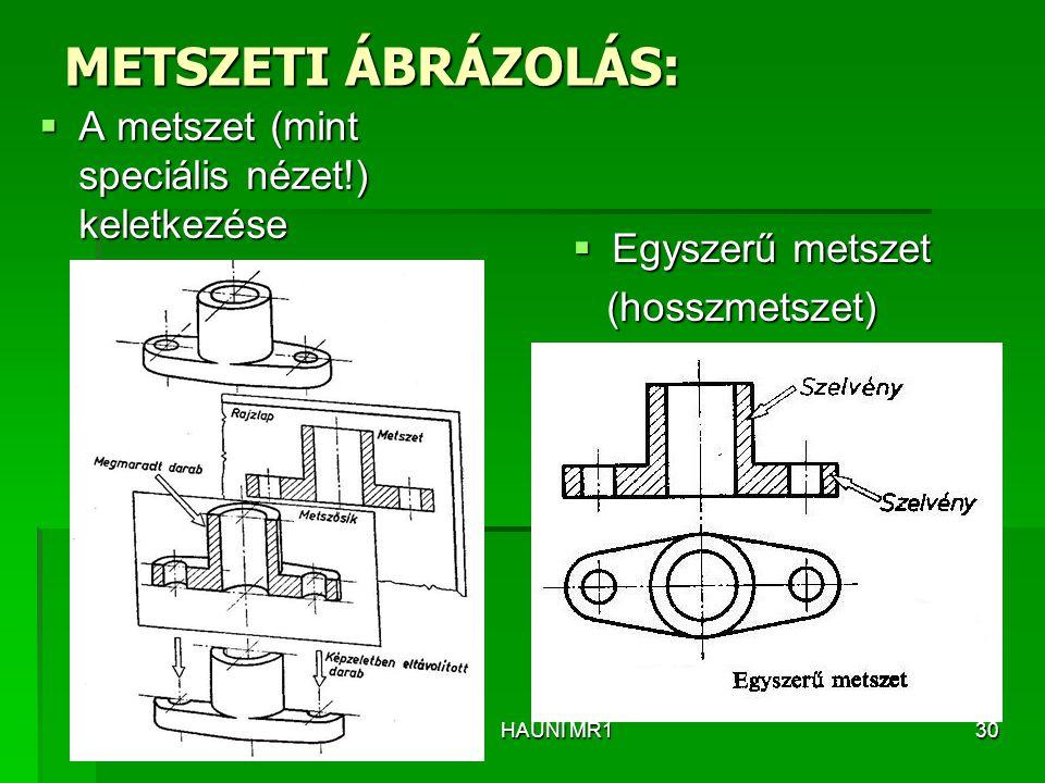 METSZETI ÁBRÁZOLÁS:  A metszet (mint speciális nézet!) keletkezése  Egyszerű metszet (hosszmetszet) (hosszmetszet) HAUNI MR130