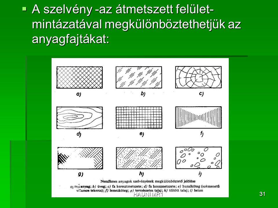  A szelvény -az átmetszett felület- mintázatával megkülönböztethetjük az anyagfajtákat: HAUNI MR131