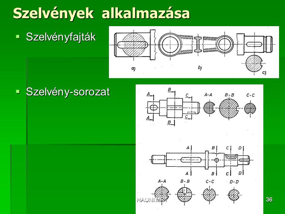 Szelvények alkalmazása  Szelvényfajták  Szelvény-sorozat HAUNI MR136