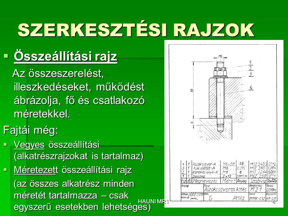 SZERKESZTÉSI RAJZOK  Összeállítási rajz Az összeszerelést, illeszkedéseket, működést ábrázolja, fő és csatlakozó méretekkel. Az összeszerelést, illes