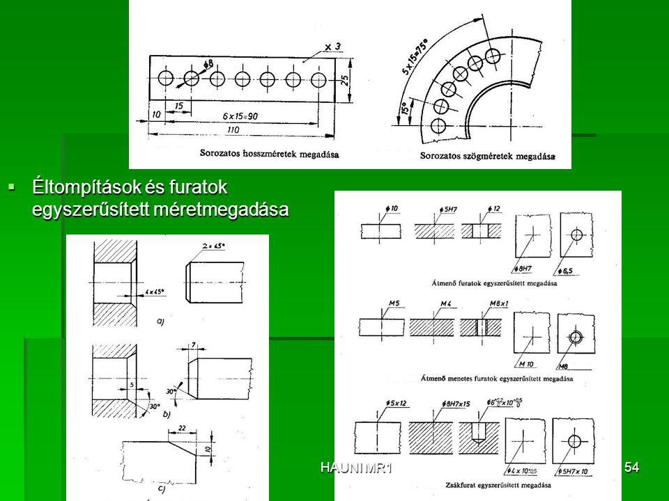  Éltompítások és furatok egyszerűsített méretmegadása HAUNI MR154