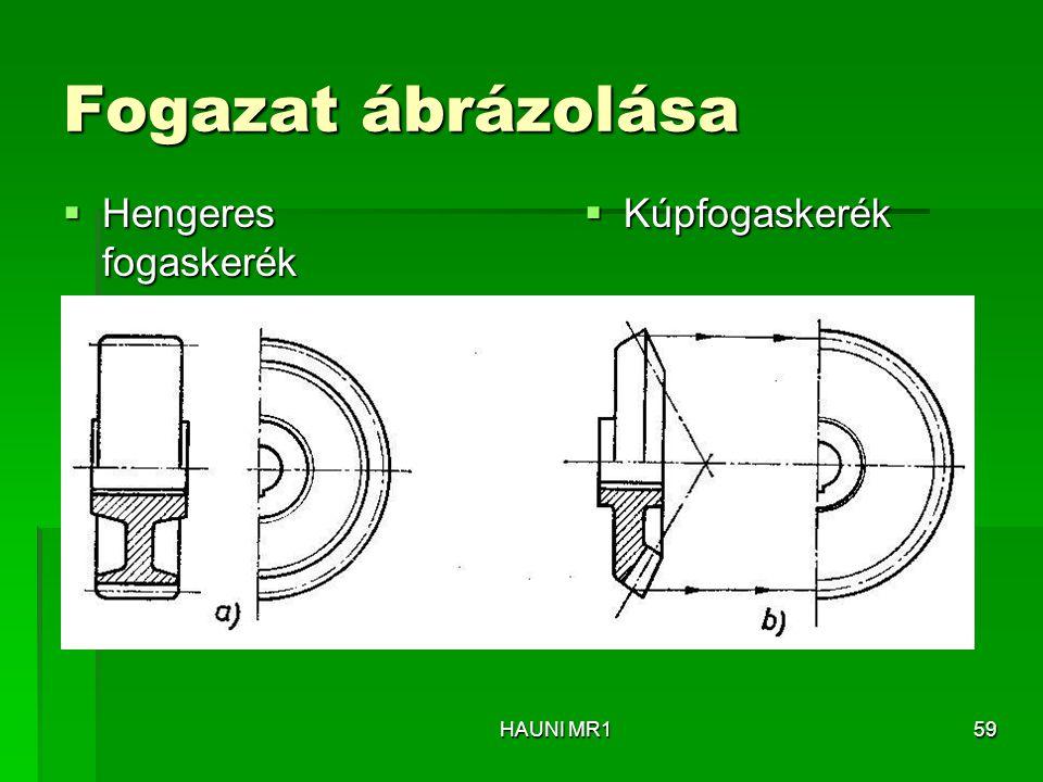 Fogazat ábrázolása  Hengeres fogaskerék  Kúpfogaskerék HAUNI MR159