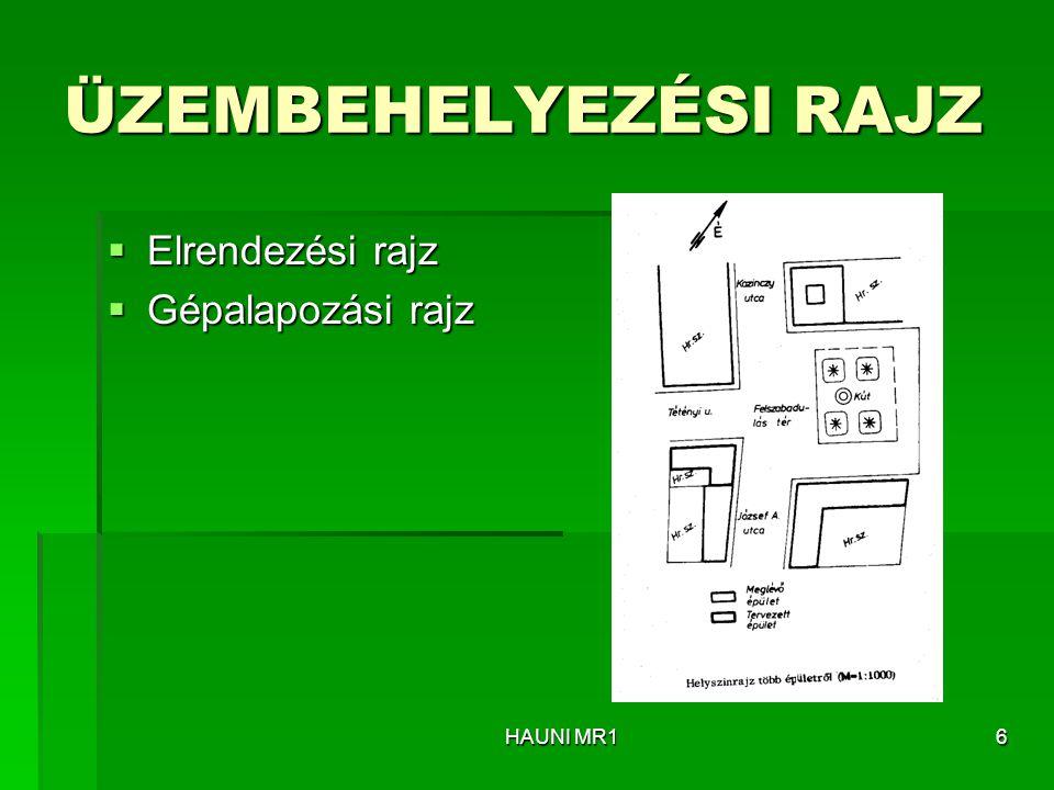 ÜZEMBEHELYEZÉSI RAJZ  Elrendezési rajz  Gépalapozási rajz HAUNI MR16
