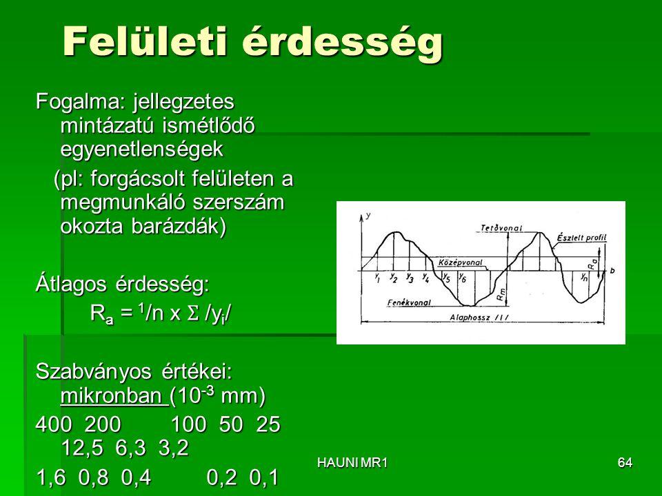 Felületi érdesség Fogalma: jellegzetes mintázatú ismétlődő egyenetlenségek (pl: forgácsolt felületen a megmunkáló szerszám okozta barázdák) (pl: forgá
