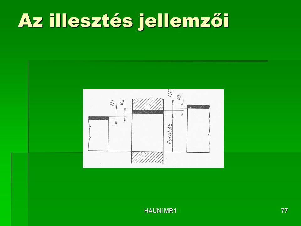 Az illesztés jellemzői HAUNI MR177