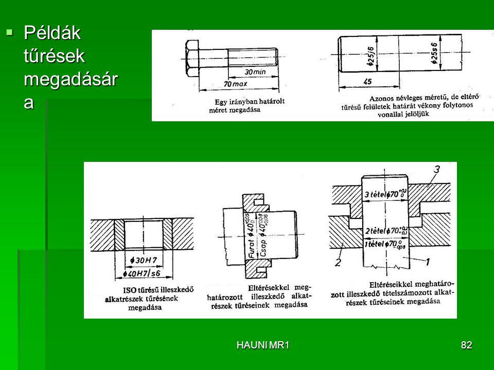  Példák tűrések megadásár a HAUNI MR182