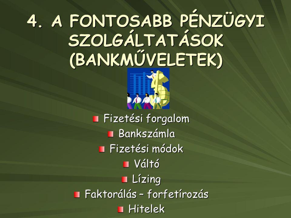 4. A FONTOSABB PÉNZÜGYI SZOLGÁLTATÁSOK (BANKMŰVELETEK) Fizetési forgalom Bankszámla Fizetési módok VáltóLízing Faktorálás – forfetírozás Hitelek