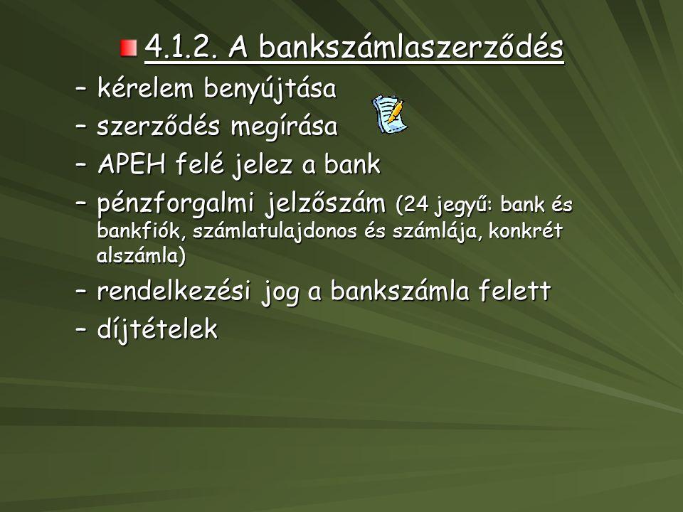 4.1.2. A bankszámlaszerződés –kérelem benyújtása –szerződés megírása –APEH felé jelez a bank –pénzforgalmi jelzőszám (24 jegyű: bank és bankfiók, szám