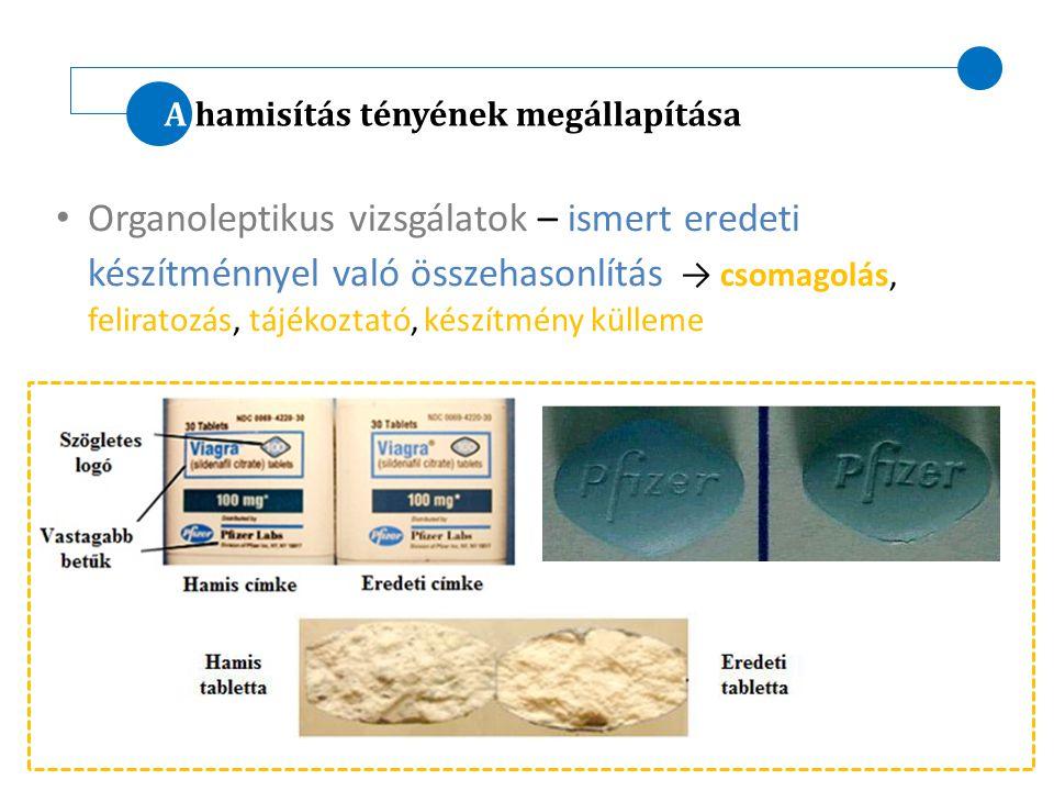 A hamisítás tényének megállapítása Organoleptikus vizsgálatok – ismert eredeti készítménnyel való összehasonlítás → csomagolás, feliratozás, tájékozta