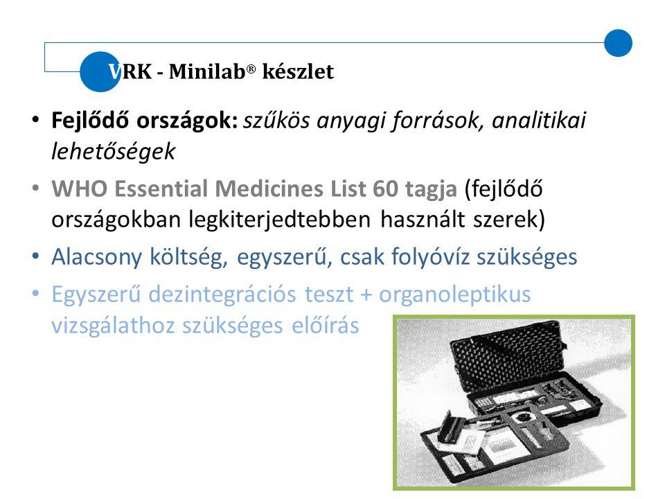 VRK - Minilab ® készlet Fejlődő országok: szűkös anyagi források, analitikai lehetőségek WHO Essential Medicines List 60 tagja (fejlődő országokban le