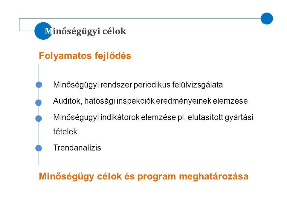 Minőségügyi célok Folyamatos fejlődés Minőségügyi rendszer periodikus felülvizsgálata Auditok, hatósági inspekciók eredményeinek elemzése Minőségügyi