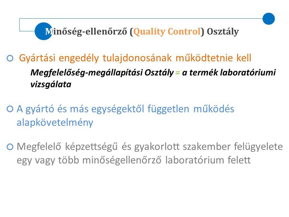 Minőség-ellenőrző (Quality Control) Osztály Gyártási engedély tulajdonosának működtetnie kell Megfelelőség-megállapítási Osztály = a termék laboratóri