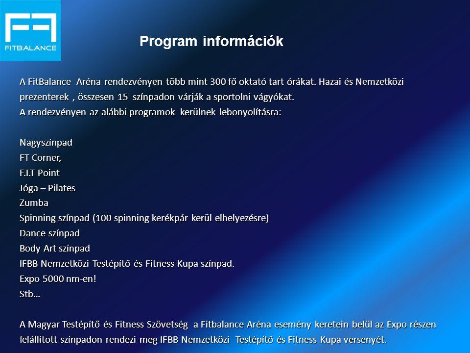 Program információk A FitBalance Aréna rendezvényen több mint 300 fő oktató tart órákat. Hazai és Nemzetközi prezenterek, összesen 15 színpadon várják