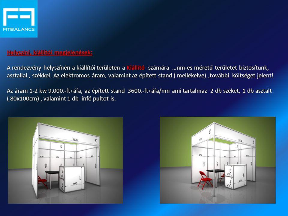 Helyszíni, kiállítói megjelenések: A rendezvény helyszínén a kiállítói területen Kiállító számára …nm-es méretű területet biztosítunk, asztallal, szék