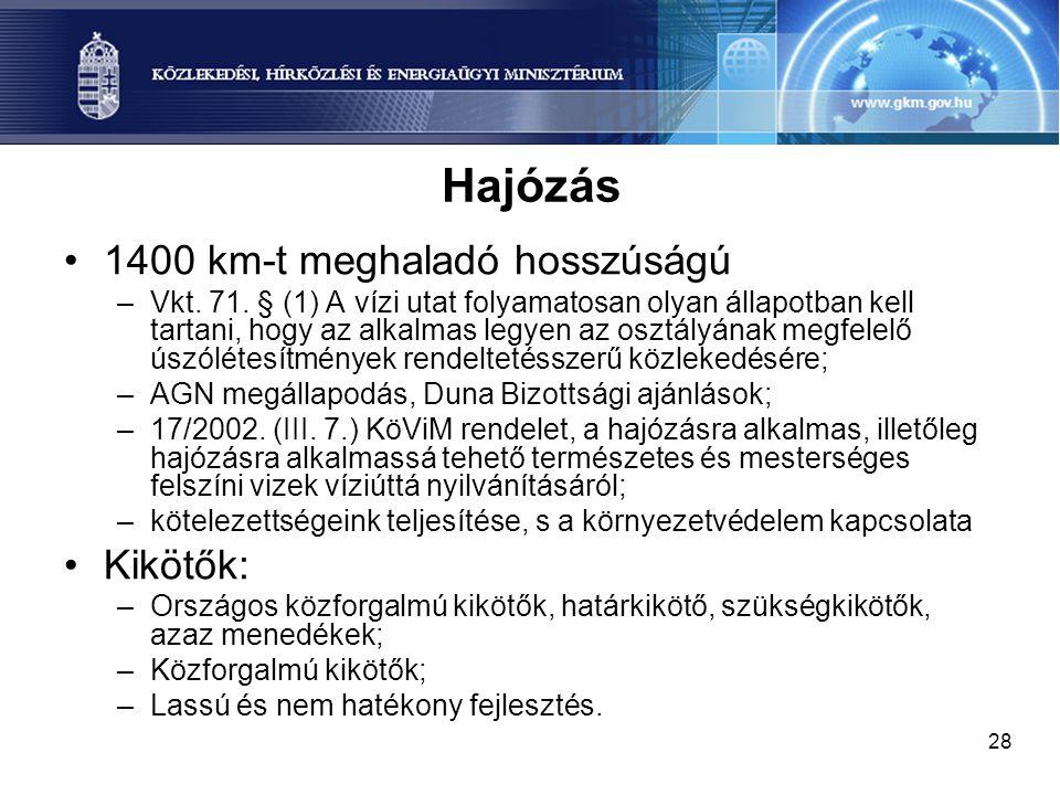 28 Hajózás 1400 km-t meghaladó hosszúságú –Vkt. 71. § (1) A vízi utat folyamatosan olyan állapotban kell tartani, hogy az alkalmas legyen az osztályán