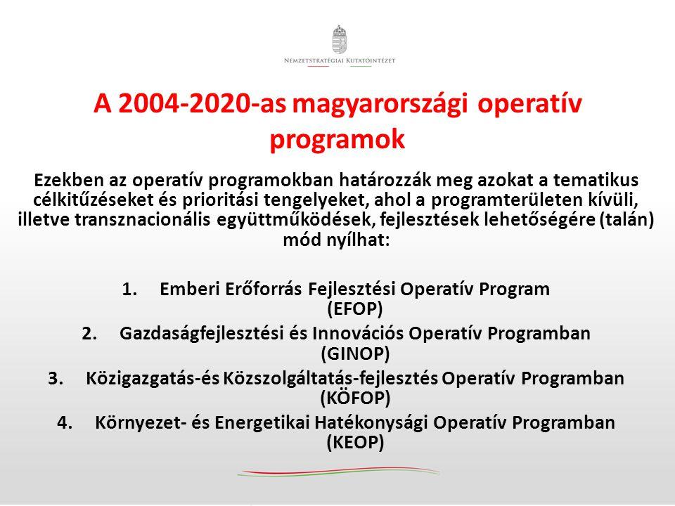 Ezekben az operatív programokban határozzák meg azokat a tematikus célkitűzéseket és prioritási tengelyeket, ahol a programterületen kívüli, illetve transznacionális együttműködések, fejlesztések lehetőségére (talán) mód nyílhat: 1.Emberi Erőforrás Fejlesztési Operatív Program (EFOP) 2.Gazdaságfejlesztési és Innovációs Operatív Programban (GINOP) 3.Közigazgatás-és Közszolgáltatás-fejlesztés Operatív Programban (KÖFOP) 4.Környezet- és Energetikai Hatékonysági Operatív Programban (KEOP) A 2004-2020-as magyarországi operatív programok