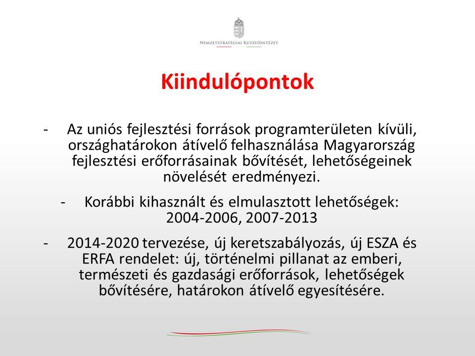 Kiindulópontok -Az uniós fejlesztési források programterületen kívüli, országhatárokon átívelő felhasználása Magyarország fejlesztési erőforrásainak bővítését, lehetőségeinek növelését eredményezi.
