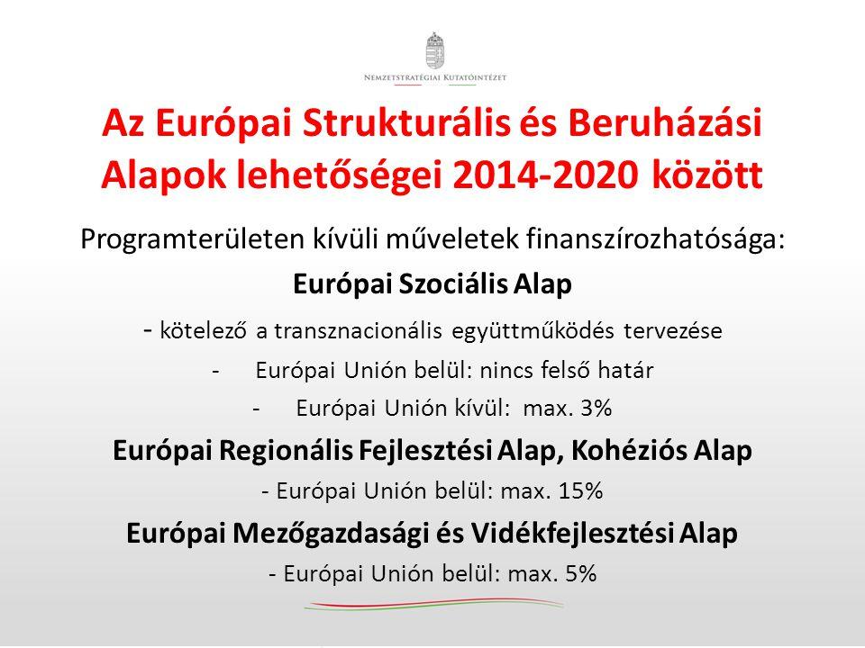 Az Európai Strukturális és Beruházási Alapok lehetőségei 2014-2020 között Programterületen kívüli műveletek finanszírozhatósága: Európai Szociális Alap - kötelező a transznacionális együttműködés tervezése -Európai Unión belül: nincs felső határ -Európai Unión kívül: max.