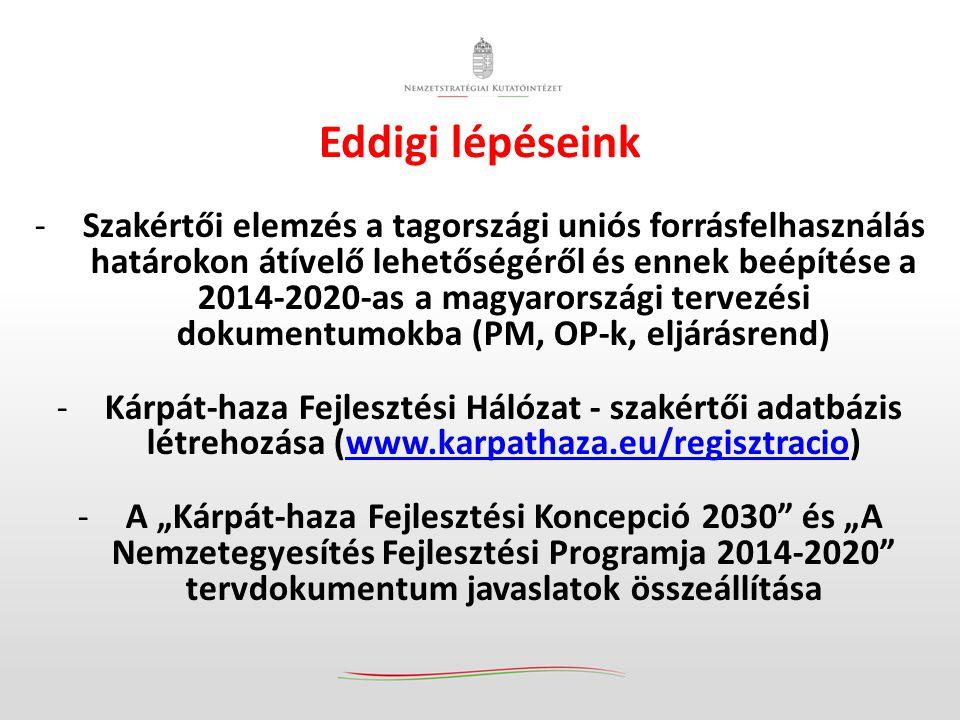"""Eddigi lépéseink -Szakértői elemzés a tagországi uniós forrásfelhasználás határokon átívelő lehetőségéről és ennek beépítése a 2014-2020-as a magyarországi tervezési dokumentumokba (PM, OP-k, eljárásrend) -Kárpát-haza Fejlesztési Hálózat - szakértői adatbázis létrehozása (www.karpathaza.eu/regisztracio)www.karpathaza.eu/regisztracio -A """"Kárpát-haza Fejlesztési Koncepció 2030 és """"A Nemzetegyesítés Fejlesztési Programja 2014-2020 tervdokumentum javaslatok összeállítása"""