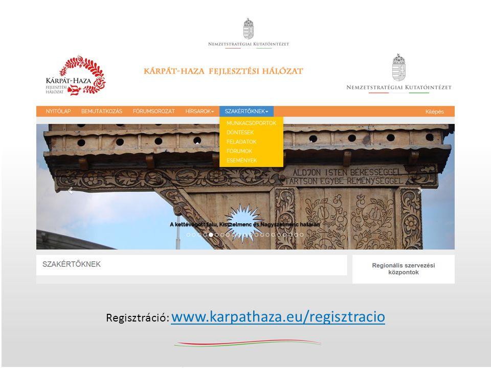 Kárpát-haza Fejlesztési Hálózat (2014. október 31.) Regisztráció: www.karpathaza.eu/regisztracio