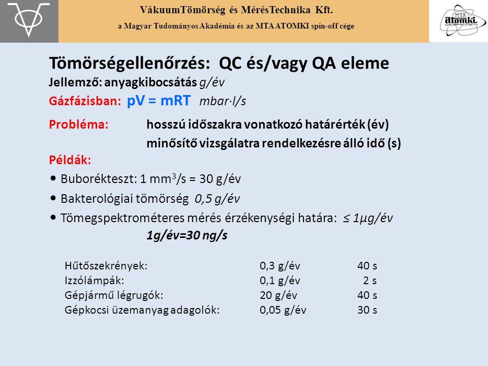 VákuumTömörség és MérésTechnika Kft. a Magyar Tudományos Akadémia és az MTA ATOMKI spin-off cége Tömörségellenőrzés: QC és/vagy QA eleme Jellemző: any