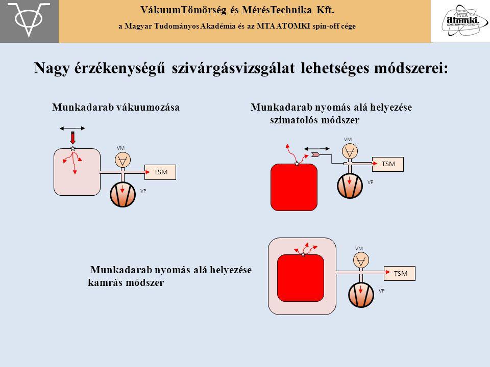 VákuumTömörség és MérésTechnika Kft. a Magyar Tudományos Akadémia és az MTA ATOMKI spin-off cége Munkadarab vákuumozása Munkadarab nyomás alá helyezés