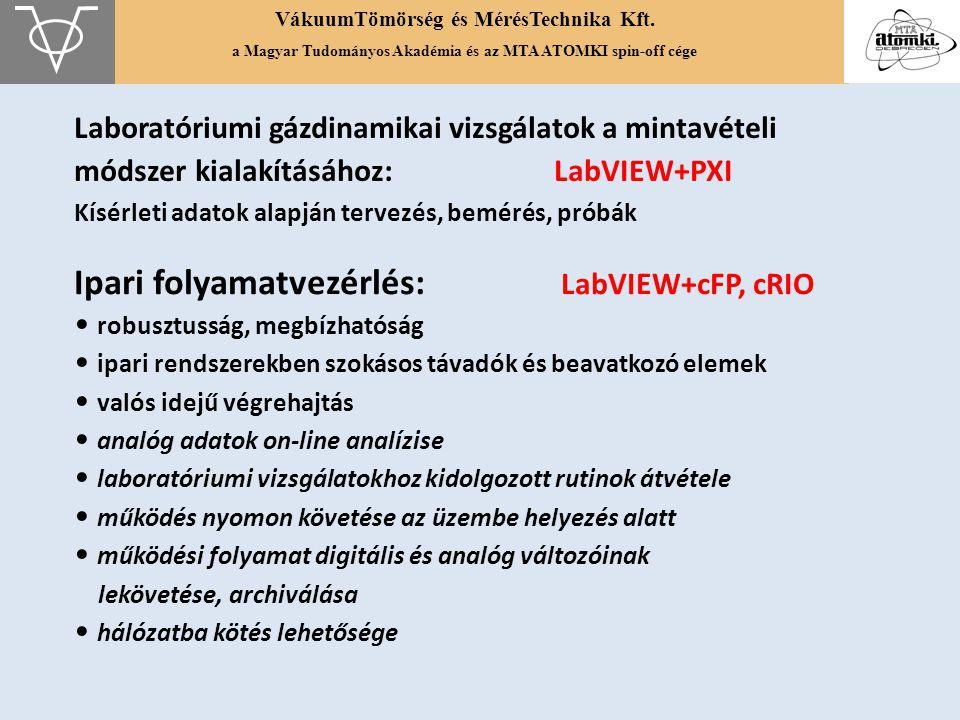 VákuumTömörség és MérésTechnika Kft. a Magyar Tudományos Akadémia és az MTA ATOMKI spin-off cége Laboratóriumi gázdinamikai vizsgálatok a mintavételi