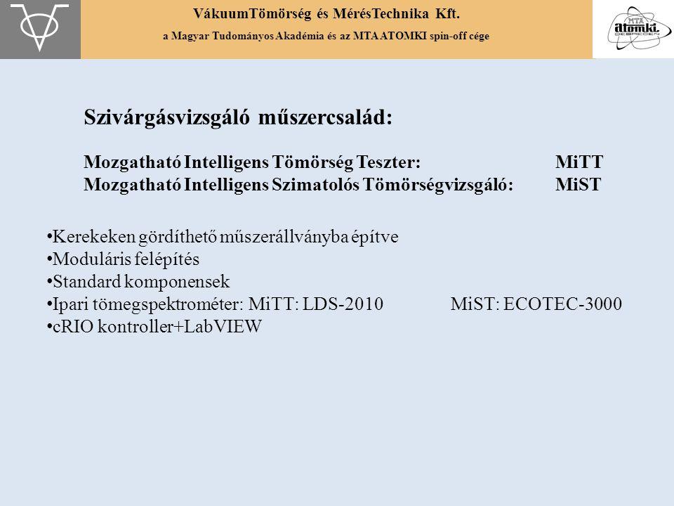 VákuumTömörség és MérésTechnika Kft. a Magyar Tudományos Akadémia és az MTA ATOMKI spin-off cége Szivárgásvizsgáló műszercsalád: Mozgatható Intelligen