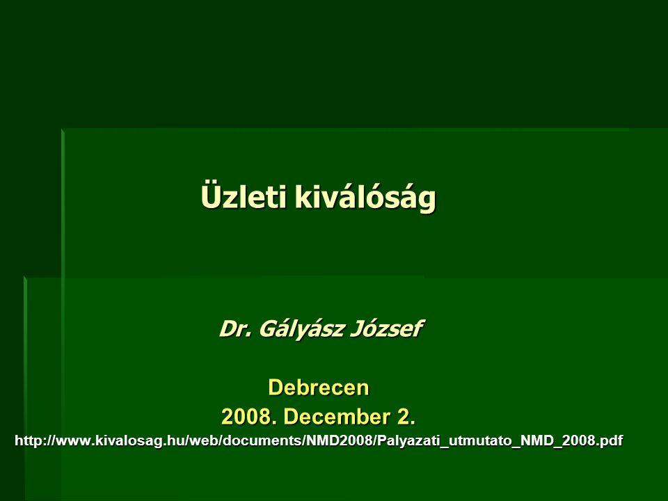 Üzleti kiválóság Dr. Gályász József Debrecen 2008. December 2. http://www.kivalosag.hu/web/documents/NMD2008/Palyazati_utmutato_NMD_2008.pdf