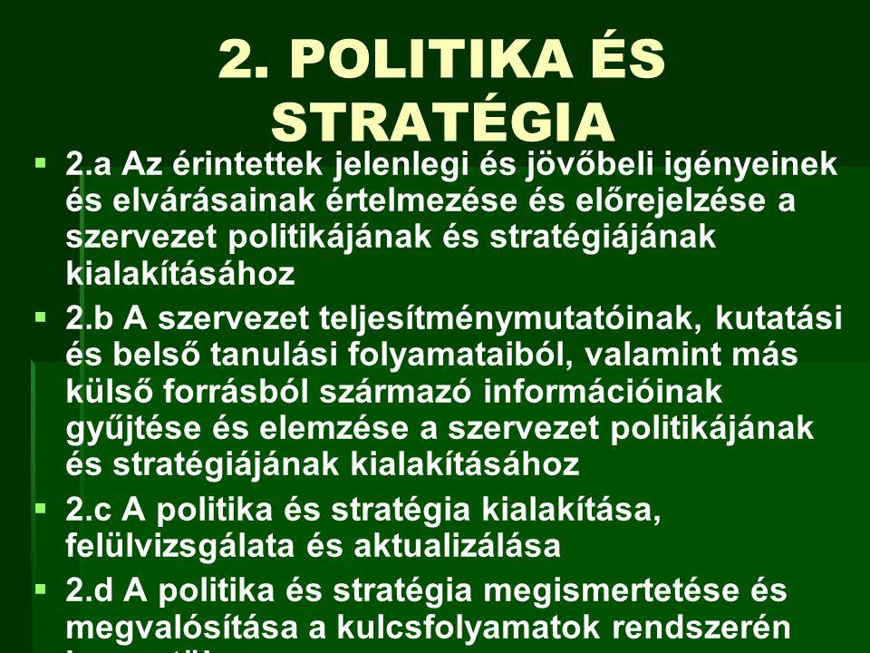 2. POLITIKA ÉS STRATÉGIA   2.a Az érintettek jelenlegi és jövőbeli igényeinek és elvárásainak értelmezése és előrejelzése a szervezet politikájának