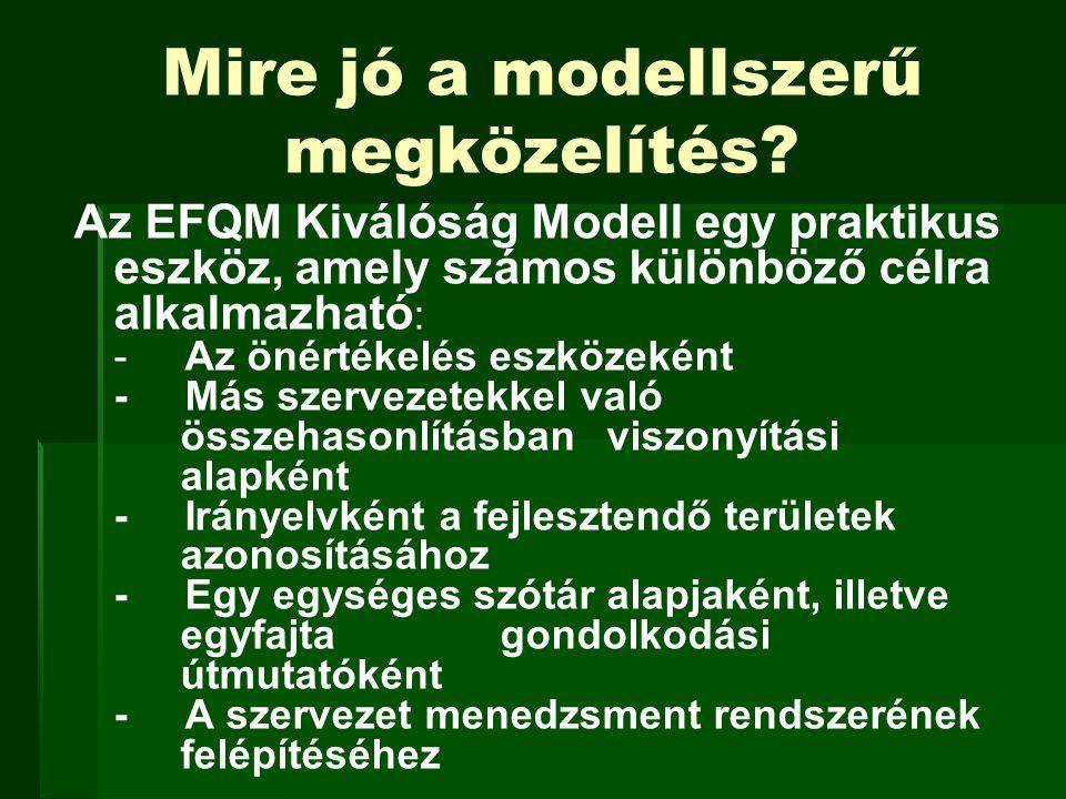 Mire jó a modellszerű megközelítés? Az EFQM Kiválóság Modell egy praktikus eszköz, amely számos különböző célra alkalmazható : - Az önértékelés eszköz