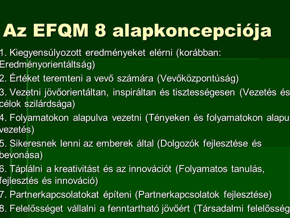 Az EFQM 8 alapkoncepciója  1. Kiegyensúlyozott eredményeket elérni (korábban: Eredményorientáltság)  2. Értéket teremteni a vevő számára (Vevőközpon