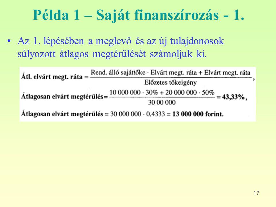 17 Példa 1 – Saját finanszírozás - 1. Az 1. lépésében a meglevő és az új tulajdonosok súlyozott átlagos megtérülését számoljuk ki.