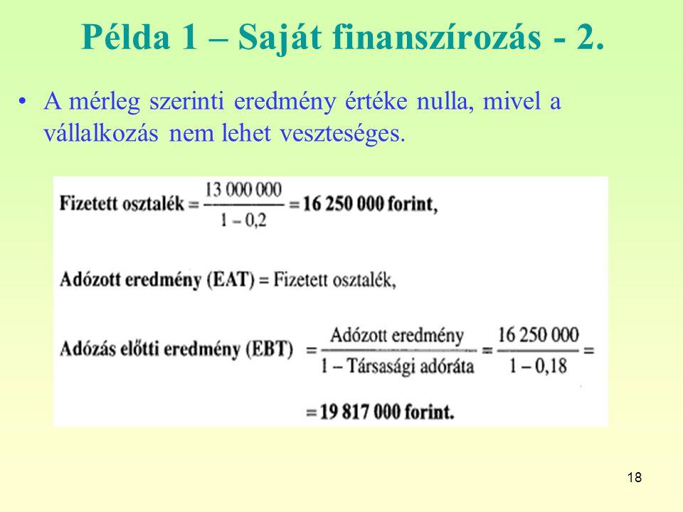 18 Példa 1 – Saját finanszírozás - 2. A mérleg szerinti eredmény értéke nulla, mivel a vállalkozás nem lehet veszteséges.