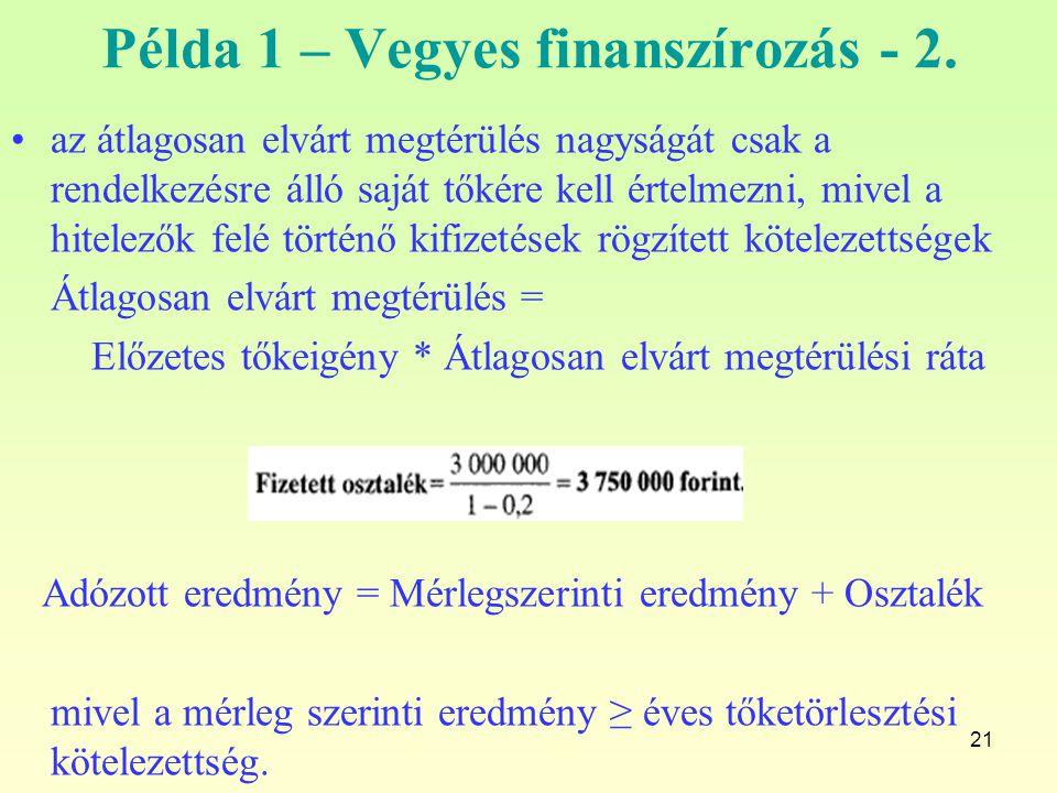 21 Példa 1 – Vegyes finanszírozás - 2. az átlagosan elvárt megtérülés nagyságát csak a rendelkezésre álló saját tőkére kell értelmezni, mivel a hitele