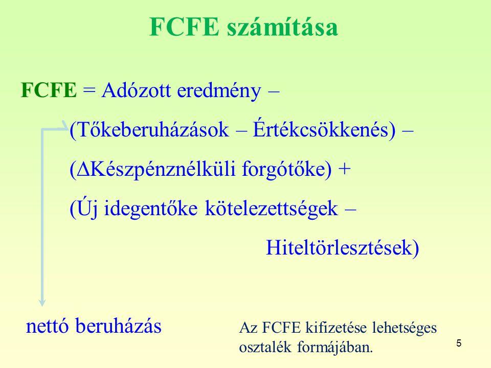 FCFE számítása FCFE = Adózott eredmény – (Tőkeberuházások – Értékcsökkenés) – (∆Készpénznélküli forgótőke) + (Új idegentőke kötelezettségek – Hiteltör