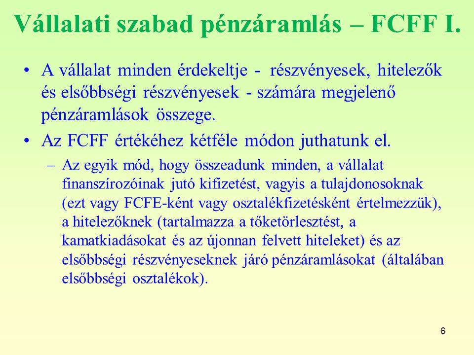 Vállalati szabad pénzáramlás – FCFF I. A vállalat minden érdekeltje - részvényesek, hitelezők és elsőbbségi részvényesek - számára megjelenő pénzáraml
