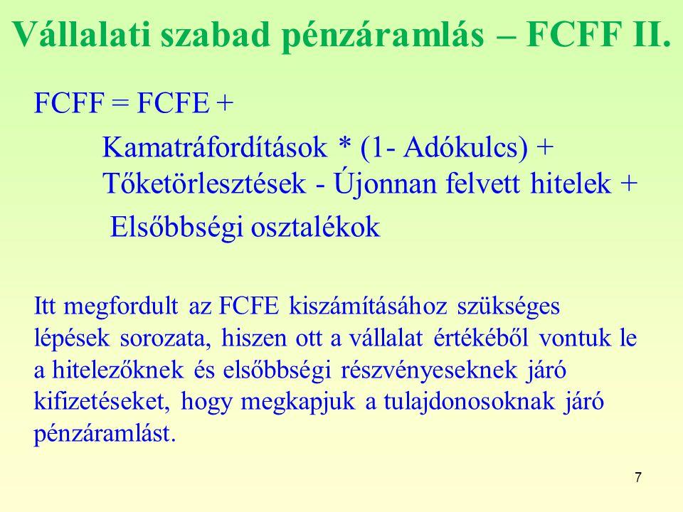 Vállalati szabad pénzáramlás – FCFF II. FCFF = FCFE + Kamatráfordítások * (1- Adókulcs) + Tőketörlesztések - Újonnan felvett hitelek + Elsőbbségi oszt