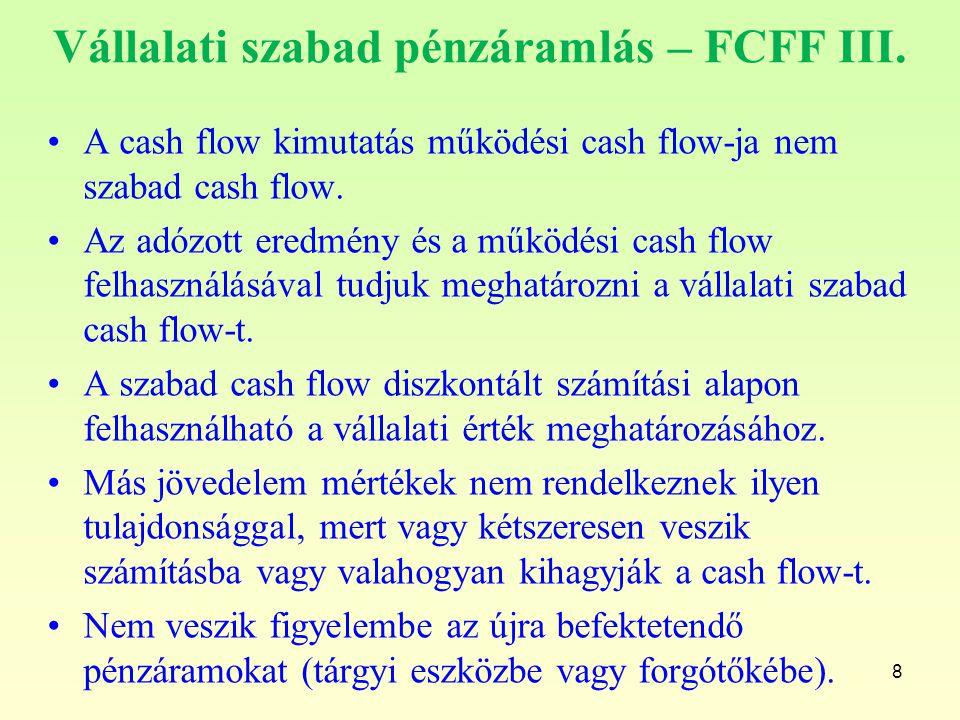 Vállalati szabad pénzáramlás – FCFF III. A cash flow kimutatás működési cash flow-ja nem szabad cash flow. Az adózott eredmény és a működési cash flow