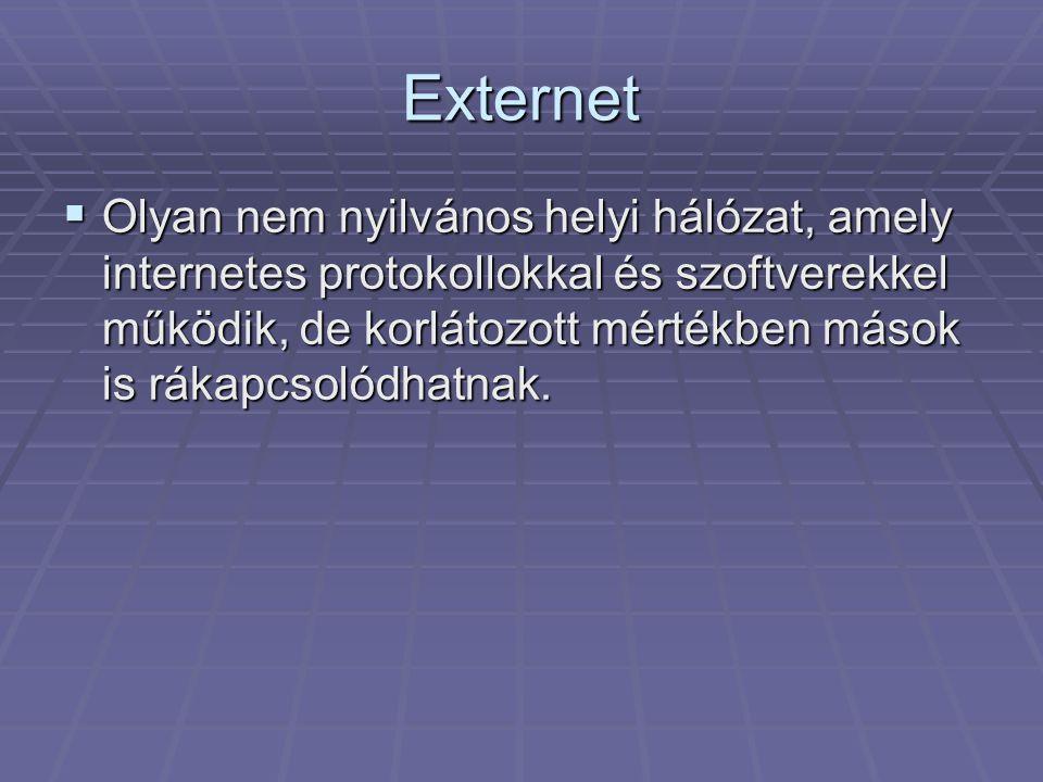 Externet  Olyan nem nyilvános helyi hálózat, amely internetes protokollokkal és szoftverekkel működik, de korlátozott mértékben mások is rákapcsolódhatnak.