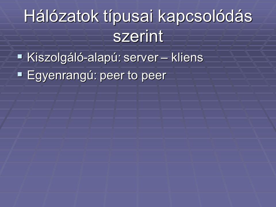 Hálózatok típusai kapcsolódás szerint  Kiszolgáló-alapú: server – kliens  Egyenrangú: peer to peer