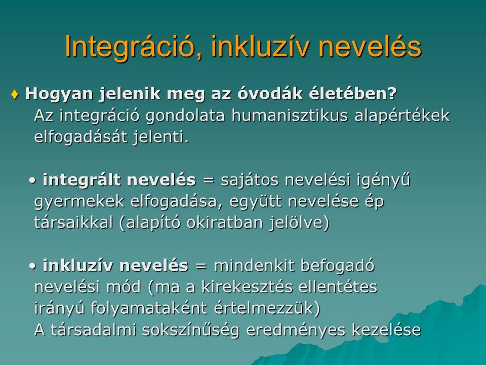 Integráció, inkluzív nevelés ♦ Hogyan jelenik meg az óvodák életében.