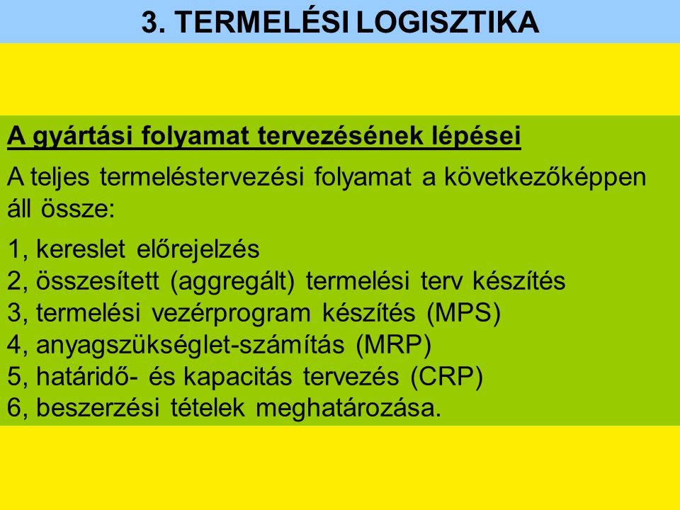 A gyártási folyamat tervezésének lépései A teljes termeléstervezési folyamat a következőképpen áll össze: 1, kereslet előrejelzés 2, összesített (aggregált) termelési terv készítés 3, termelési vezérprogram készítés (MPS) 4, anyagszükséglet-számítás (MRP) 5, határidő- és kapacitás tervezés (CRP) 6, beszerzési tételek meghatározása.