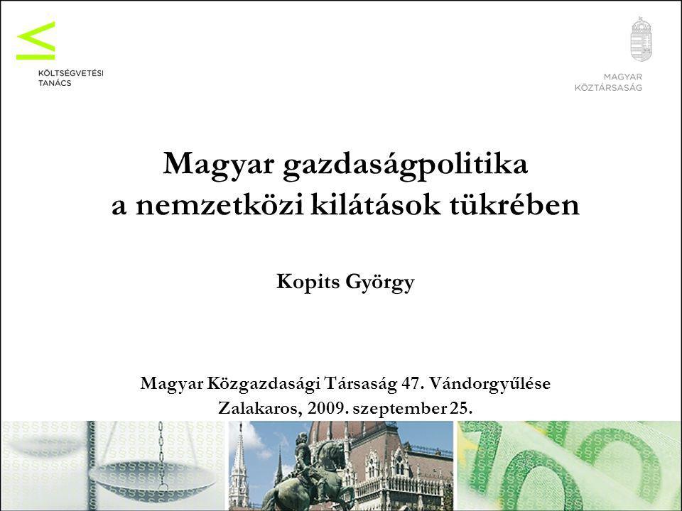 Magyar gazdaságpolitika a nemzetközi kilátások tükrében Kopits György Magyar Közgazdasági Társaság 47.