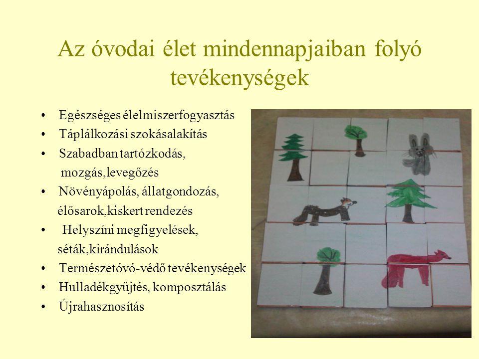 Az óvodai élet mindennapjaiban folyó tevékenységek Egészséges élelmiszerfogyasztás Táplálkozási szokásalakítás Szabadban tartózkodás, mozgás,levegőzés