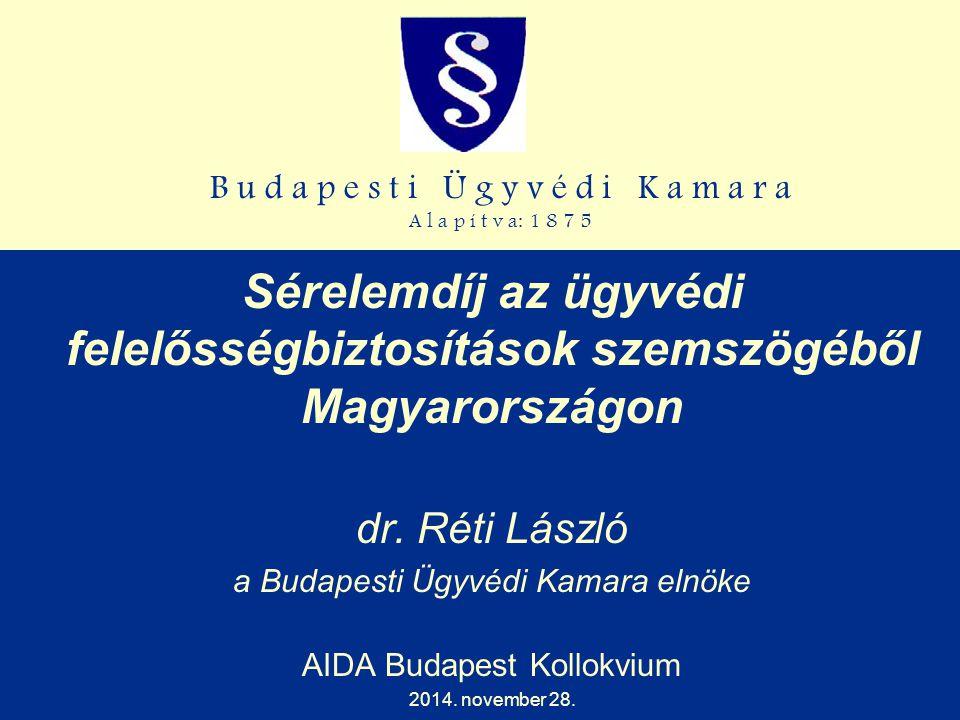 B u d a p e s t i Ü g y v é d i K a m a r a A l a p í t v a: 1 8 7 5 Sérelemdíj az ügyvédi felelősségbiztosítások szemszögéből Magyarországon dr. Réti