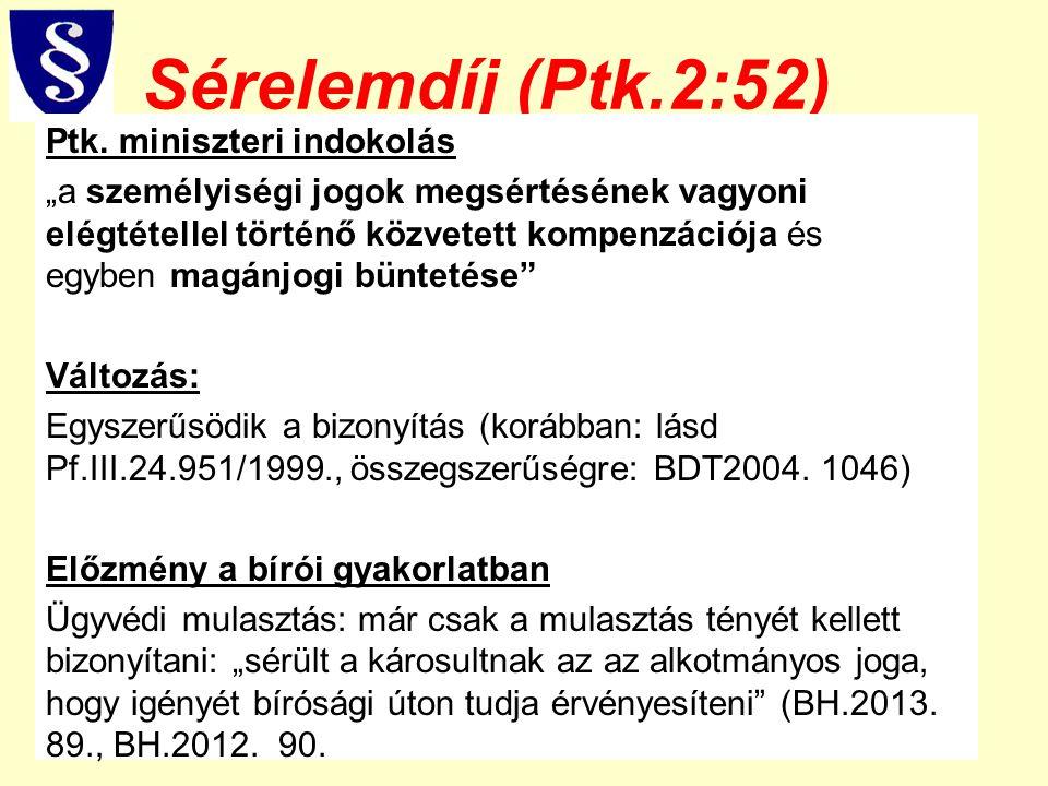 """Sérelemdíj (Ptk.2:52) Ptk. miniszteri indokolás """"a személyiségi jogok megsértésének vagyoni elégtétellel történő közvetett kompenzációja és egyben mag"""